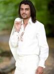 European man in white cotton linen