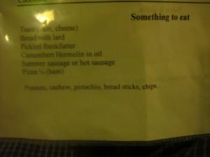 Big Lebowski barely-legible menu, Praha